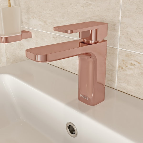 Mode Spencer square rose gold basin mixer tap offer pack