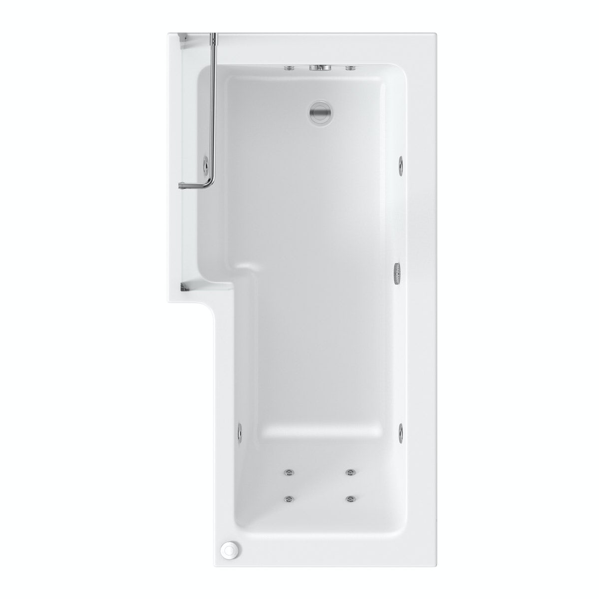 L Shaped Left Handed 12 Jet Whirlpool Shower Bath With