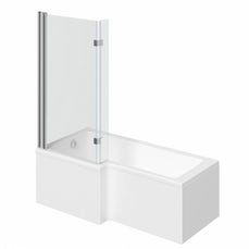 Image of Boston Shower Bath 1500 x 850 LH with 8mm Hinged Screen with Front Panel