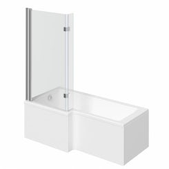Boston left handed L shaped shower bath 1500mm with 8mm hinged shower screen