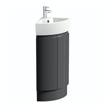 Mode Curvaceous slate compact  corner vanity unit and ceramic basin