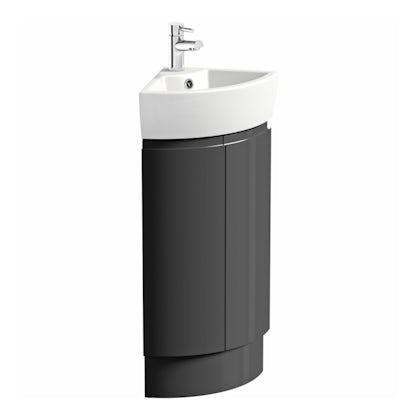 Harrison Slate compact  corner vanity unit and ceramic basin