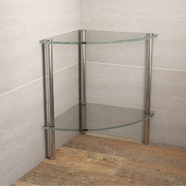 Options Freestanding Quadrant 2 Glass Shelf Unit