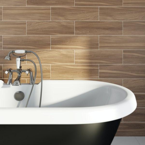 British Ceramic Tile bark coffee wood effect brown matt tile 148mm x 498mm