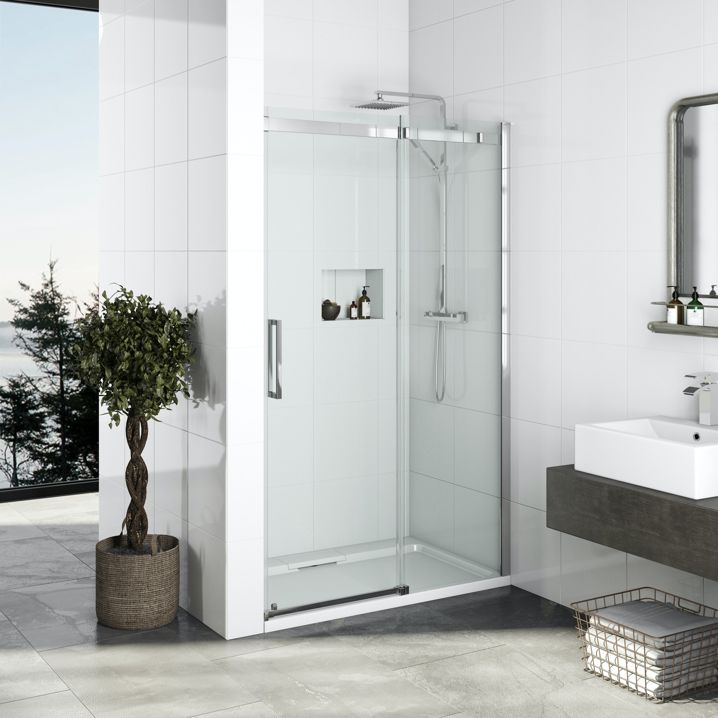 mode elite 10mm frameless sliding shower door 1200mm. Black Bedroom Furniture Sets. Home Design Ideas