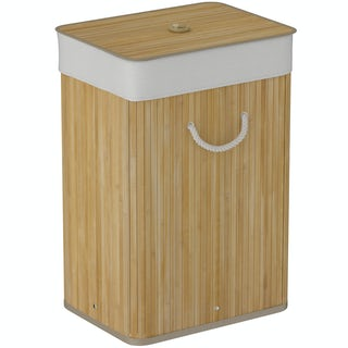 Natural bamboo rectangular laundry basket