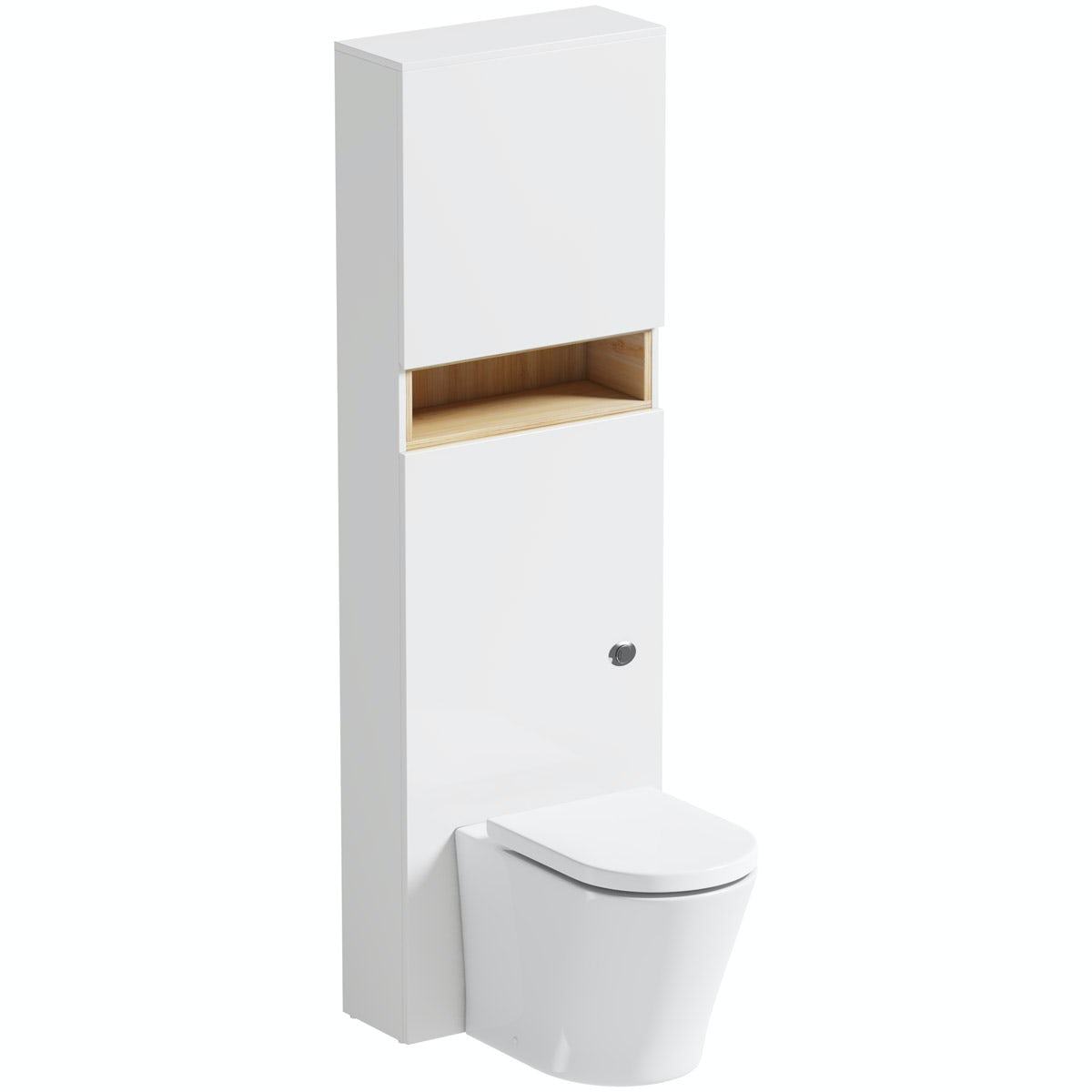 Mode Tate white & oak tall slimline toilet unit with contemporary toilet and seat