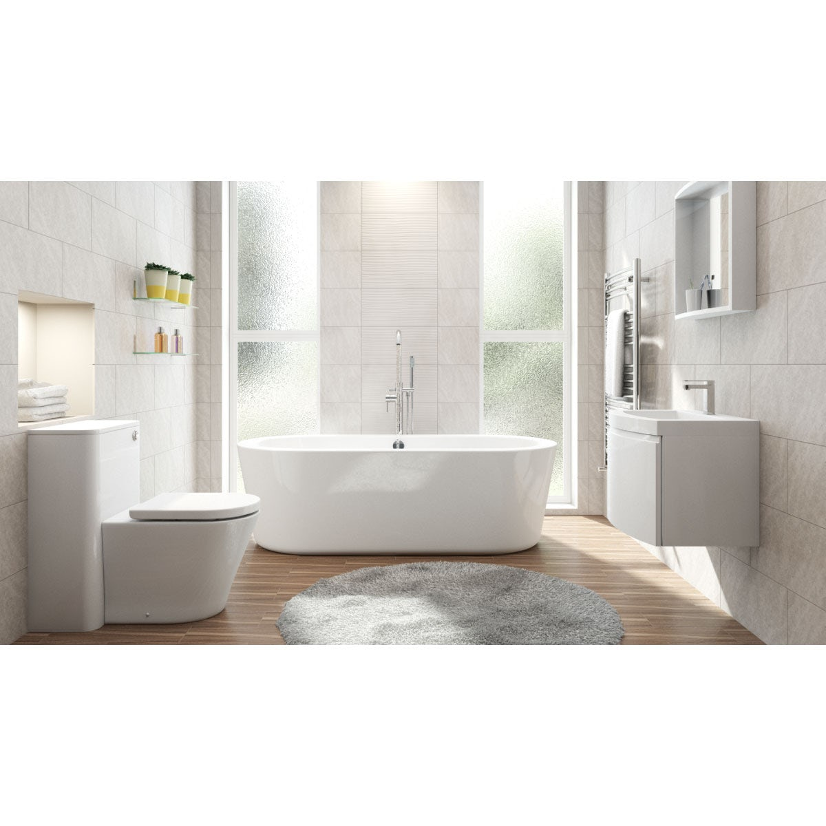 Mode Harrison furniture suite with freestanding bath 1770 x 800 and mirror
