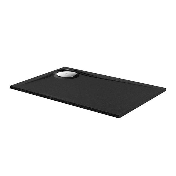 Black granite effect right handed rectangular stone shower tray 1200 x 800
