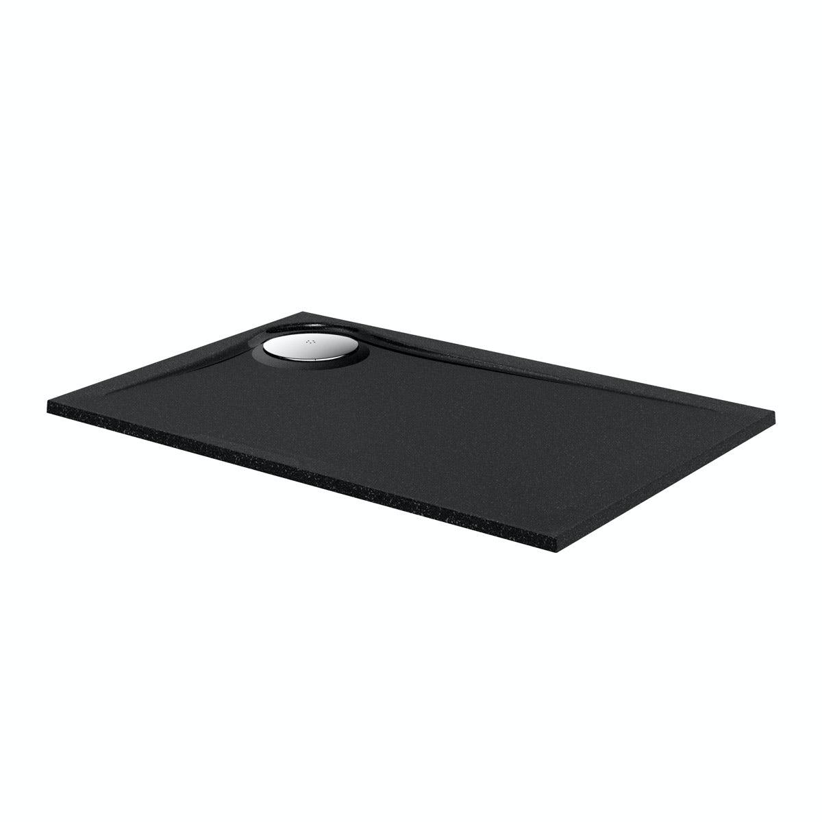 Mode black granite effect right handed rectangular stone shower tray 1200 x 800
