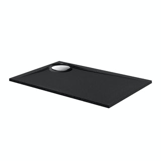 Black granite effect right handed rectangular stone shower tray 1200 x 800