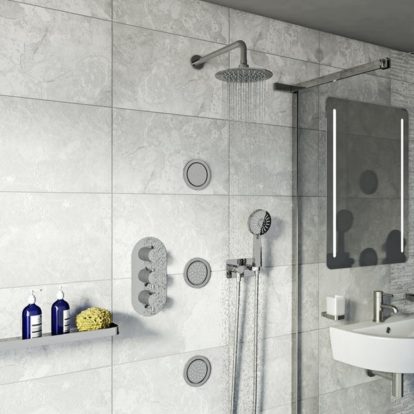 Spa Complete Round Thermostatic Triple Shower Valve with Diverter and Wall Shower Set