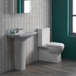 Brent close coupled toilet suite with full pedestal basin 585mm