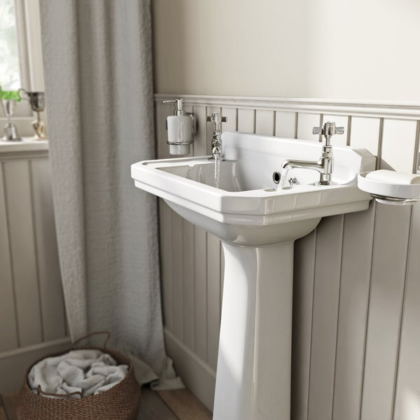 Camberley 2TH Cloakroom Basin & Pedestal
