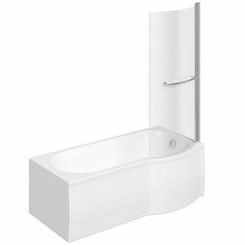 Evesham right handed P shaped shower bath 1675mm with 6mm shower screen and rail