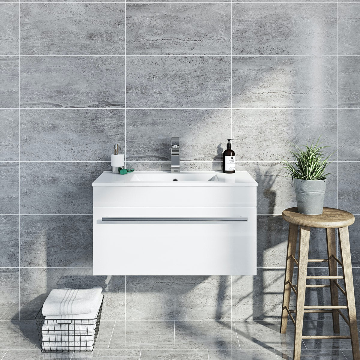 Lux grey gloss tile 298mm x 598mm