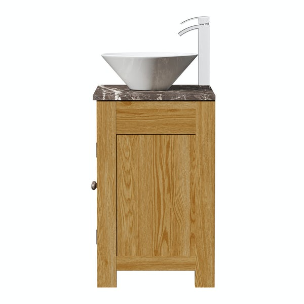 The Bath Co. Chester oak washstand with brown marble top and Erie basin 800mm
