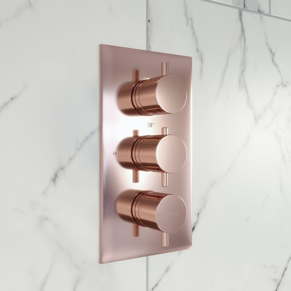 Mode Spencer round rose gold triple valve shower set