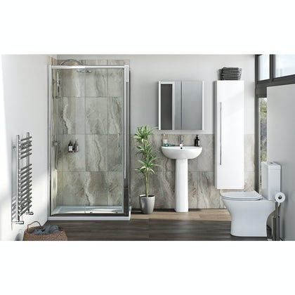 Orchard Derwent complete suite with rectangular enclosure, tray, shower and taps
