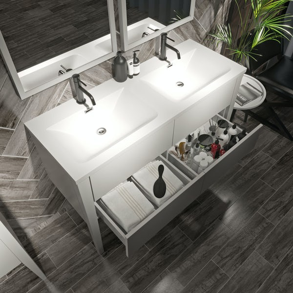 Mode Hale white gloss double basin vanity unit 1200mm