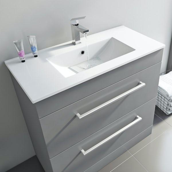 Derwent grey vanity drawer unit and basin 800mm