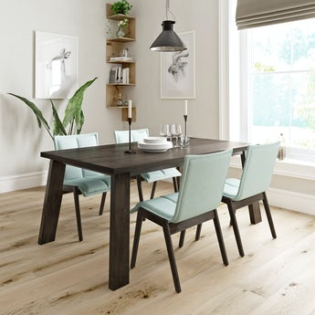 Lincoln walnut dining table with 4 x Hadley light green dining chairs