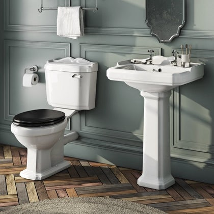 The Bath Co. Winchester cloakroom suite with black seat and full pedestal basin 600mm with tap and waste Back to product list Clone product