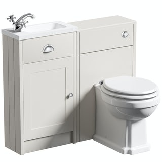 The Bath Co. Dulwich ivory cloakroom combination with white wooden seat