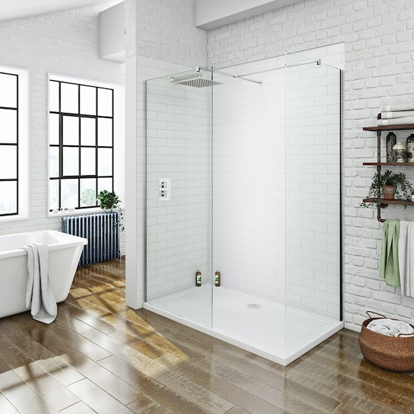 Mode luxury 8mm walk in shower enclosure pack with shower tray 1700 x 800