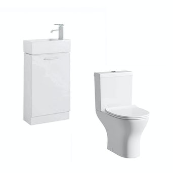 Compact White Furniture Unit with Compact Round Toilet