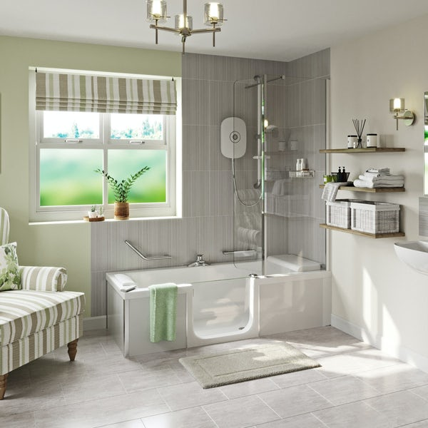Kineduo left handed shower bath with screen and white panel 1700 x 750