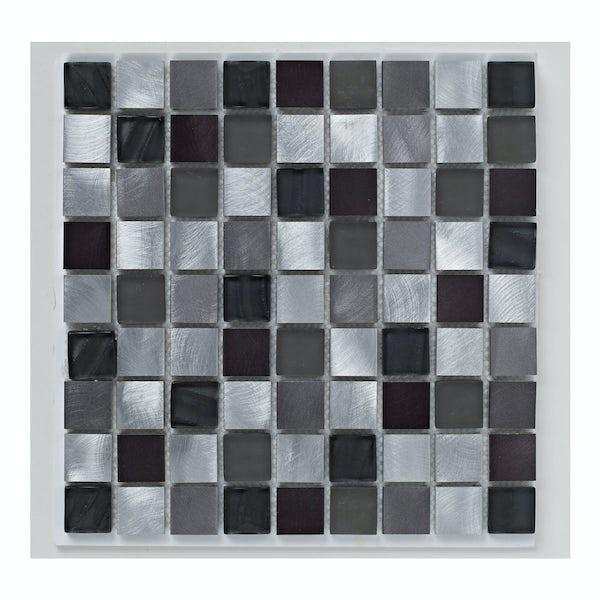 British Ceramic Tile Mosaic metallic black gloss tile 305mm x 305mm - 1 sheet