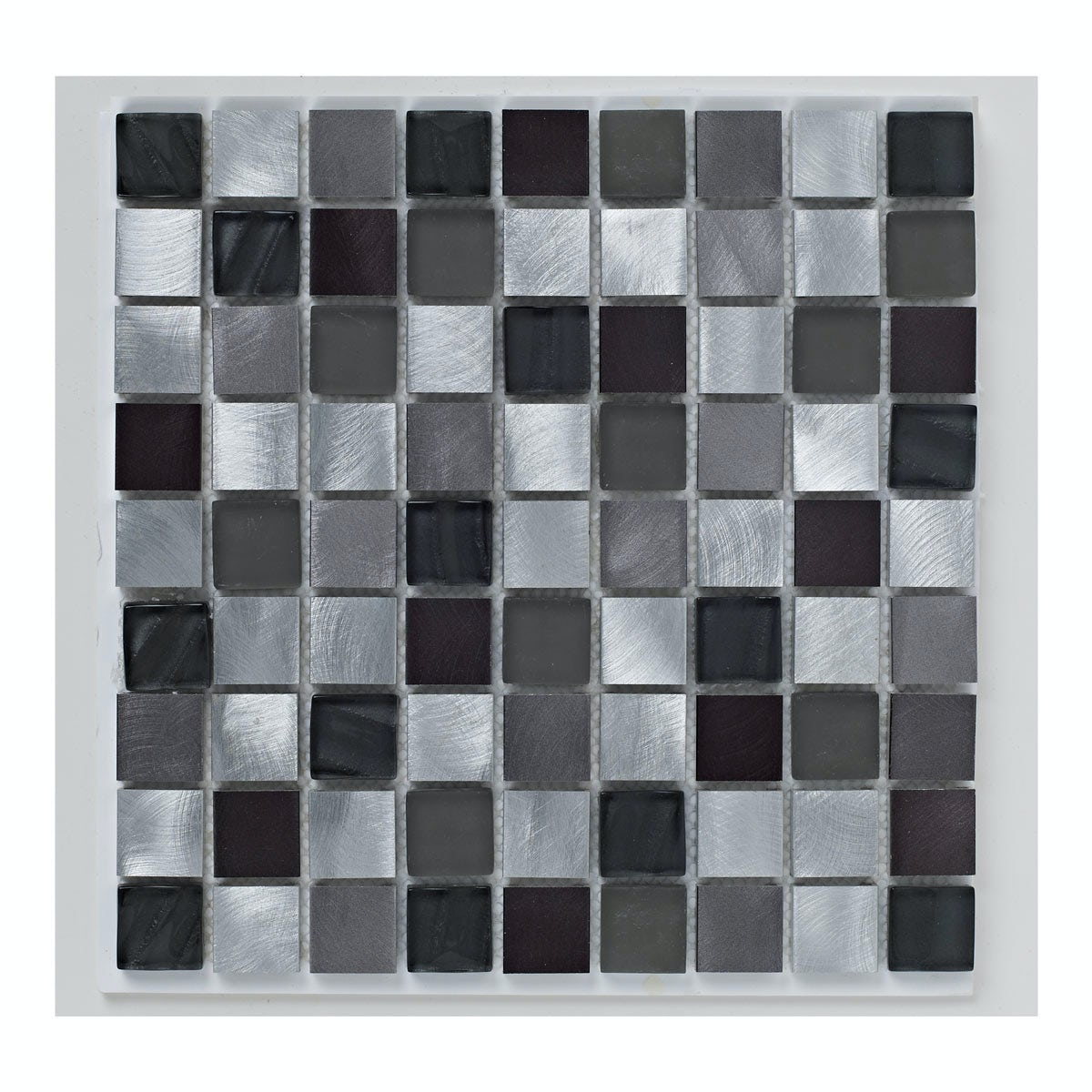 British Ceramic Tile Mosaic metallic black gloss tile 305mm x 305mm - 1 sheet