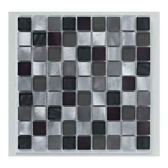 Mosaic metallic black gloss tile 305mm x 305mm - 1 sheet
