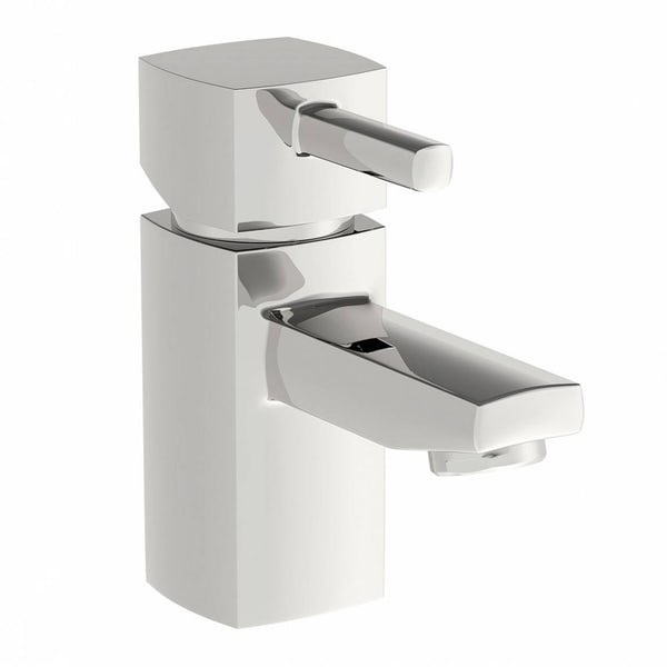 Orchard Compact oak cloakroom suite with contemporary close coupled toilet with tap and waste