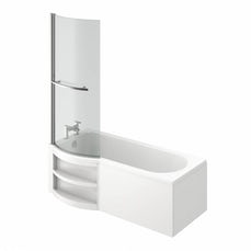 Image of MySpace Water Saving P Shape Shower Bath Left Hand with Storage Panel & 6mm Screen with Towel Rail