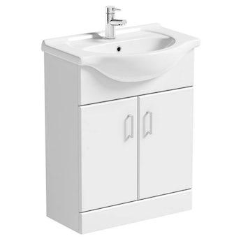 Sienna white vanity unit with basin 650mm