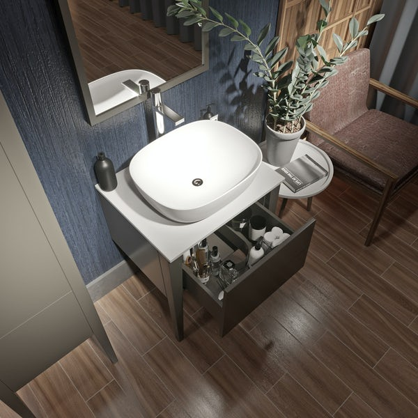 Mode Hale greystone matt furniture package with countertop vanity unit 600mm
