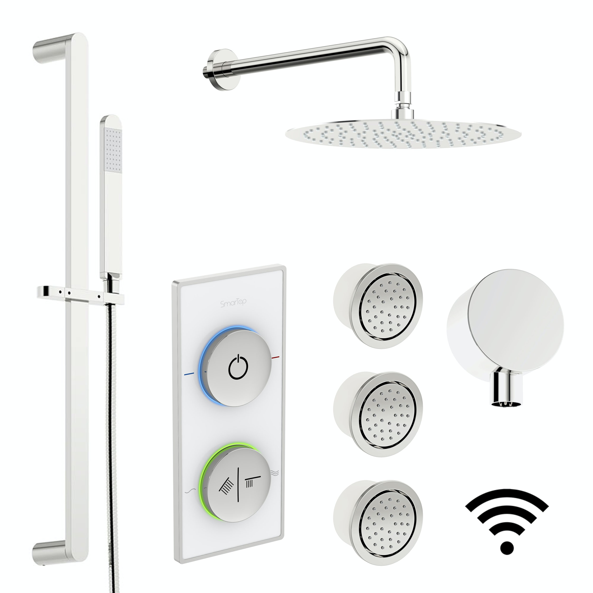 SmarTap white smart shower system with complete round wall shower ...