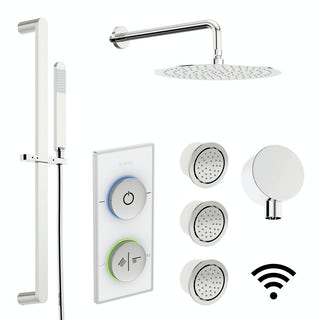 SmarTap white smart shower system with complete round wall shower set