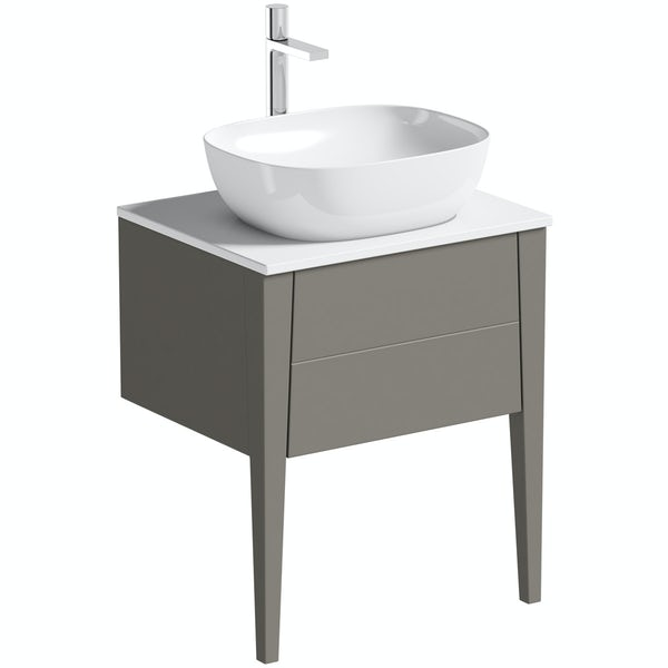 Mode Hale greystone matt countertop vanity unit and basin 600mm