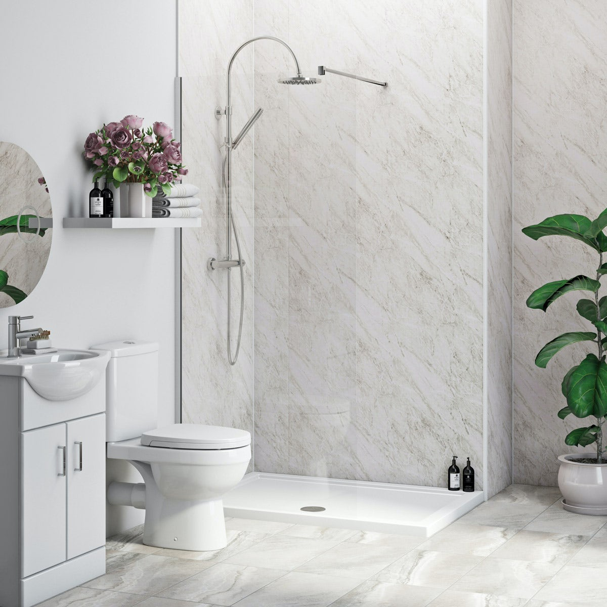 Multipanel Economy Roman Marble shower wall single panel 1000mm