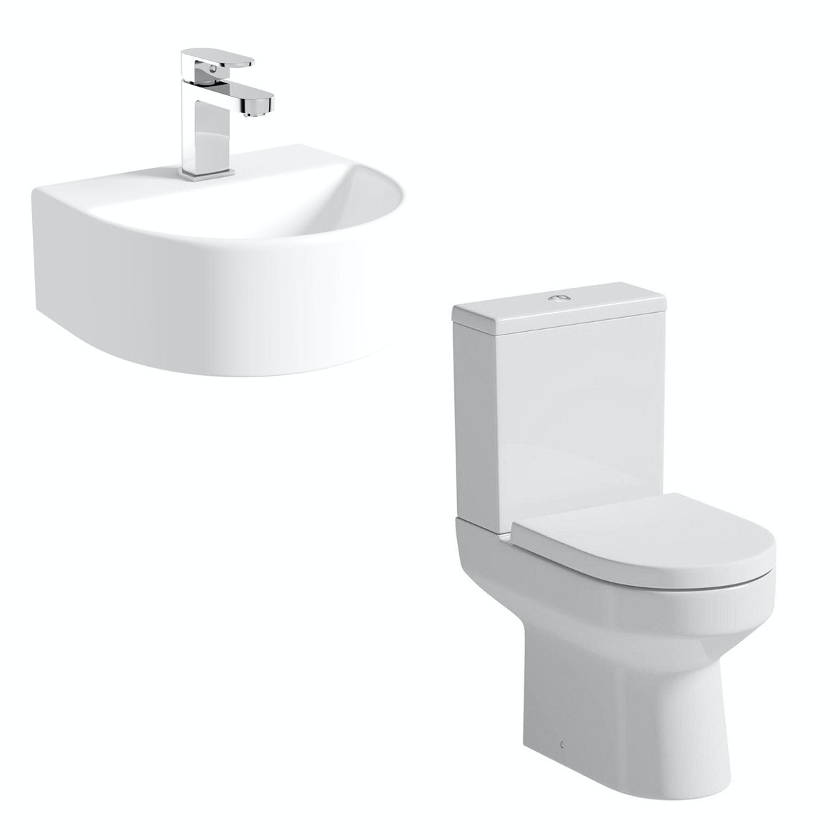 Orchard Wharfe cloakroom suite with contemporary wall hung basin 310mm