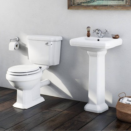 The Bath Co. Dulwich cloakroom suite with white seat and full pedestal basin 500mm with tap and waste
