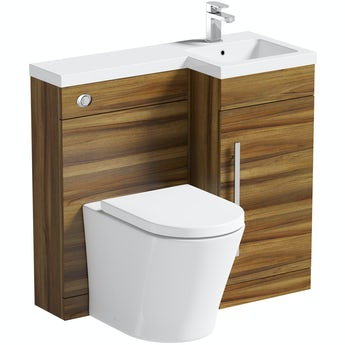 Orchard MySpace walnut right handed unit with contemporary toilet and seat