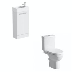 Compact white floor standing unit with Energy close coupled toilet