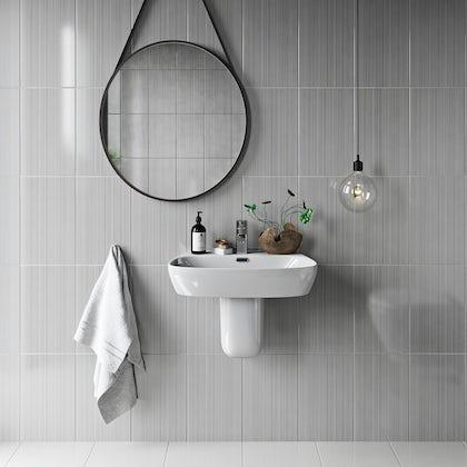 British Ceramic Tile Linear grey gloss tile 248mm x 398mm