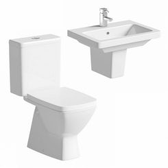 Verso close coupled toilet suite with semi pedestal basin 550mm