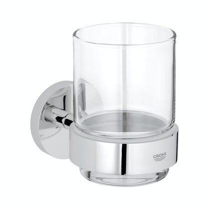 Grohe Essentials crystal tumbler and holder