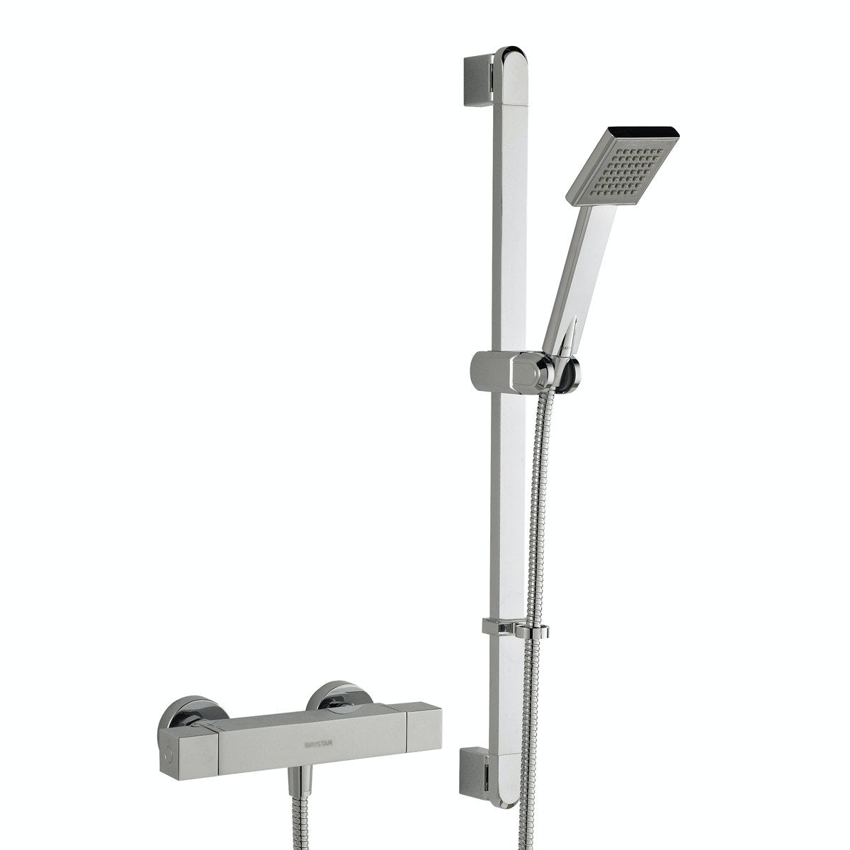 Bristan Quadrato thermostatic bar shower valve with slider rail kit